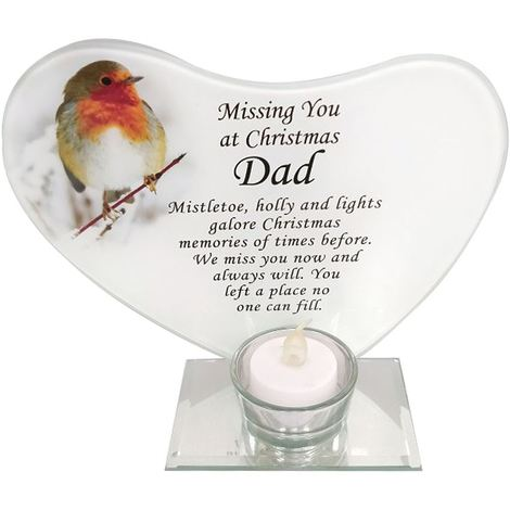 Dad Christmas Robin Glass T-light Candle Holder Memorial Tribute
