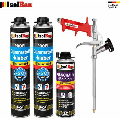 Dämmstoffkleber 2 x750 ml + 1 Metall Schaumpistole + 1 PU Reiniger hohe Qualität
