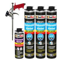 Dämmstoffkleber 3 x750 ml + 1 Metall Schaumpistole + 1 PU Reiniger hohe Qualität