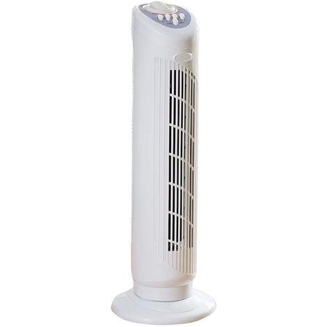 Daewoo 30-Inch Tower Fan for Home and Office, 3 Speed Settings, Timer - White