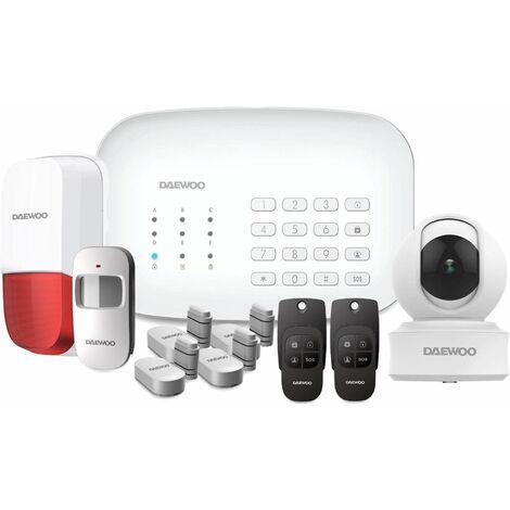 Daewoo Pack Alarme Connectée WIFI / GSM avec 1 caméra Full HD et 10 accessoires - Modèle Vision +
