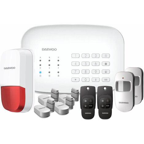 Daewoo Pack Alarme Connectée Wifi/GSM avec 11 accessoires - Modèle Home