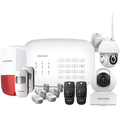 Daewoo Pack Alarme Connectée WIFI / GSM avec 2 caméras Full HD et 11 accessoires - Modèle Premium