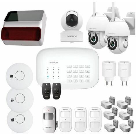 DAEWOO Pack Alarme Wifi / GSM - Modele SA623 Livré Avec 19 Accessoires, 3 Caméras Et 1 Sirene