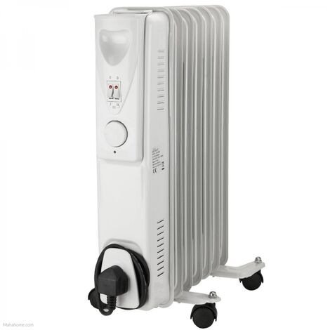 Daewoo Portable Oil Filled Radiator 1500W 7 Fin Heater Adjustable Thermostat