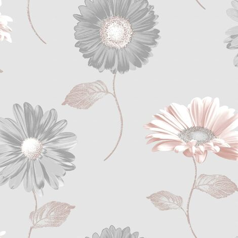 Daisy Floral Wallpaper Grey Rose Gold Blush Flowers Metallic Smooth Finish