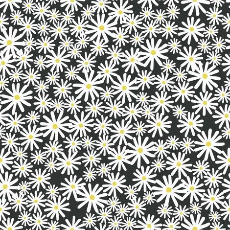 Daisy Wallpaper Skinny Dip London Black Floral White Yellow Flower