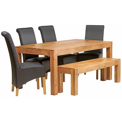 Dakota Light Mango 6 FT Dining Set with Bench & 4 Leather Chairs - Light Wood