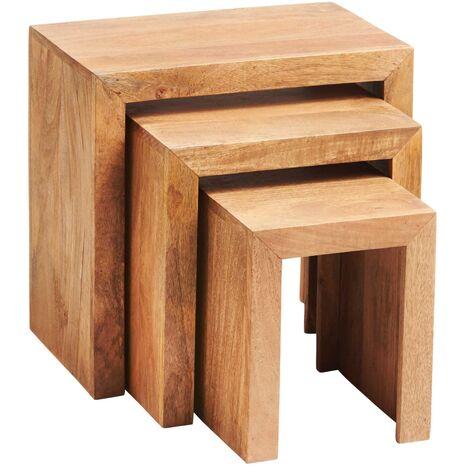 Dakota Light Mango Nest of 3 Tables