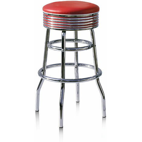 Dakota Quality Kitchen Bar Stool Retro Diner Fifties Ruby Red Padded No Back Pre Assembled