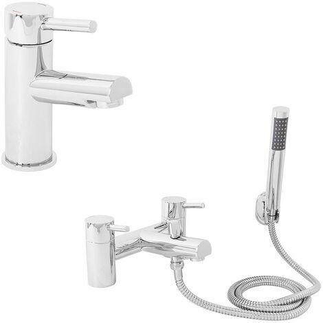 "main image of ""Modern Brass Chrome Bathroom Basin Bath & Shower Tap Packs"""