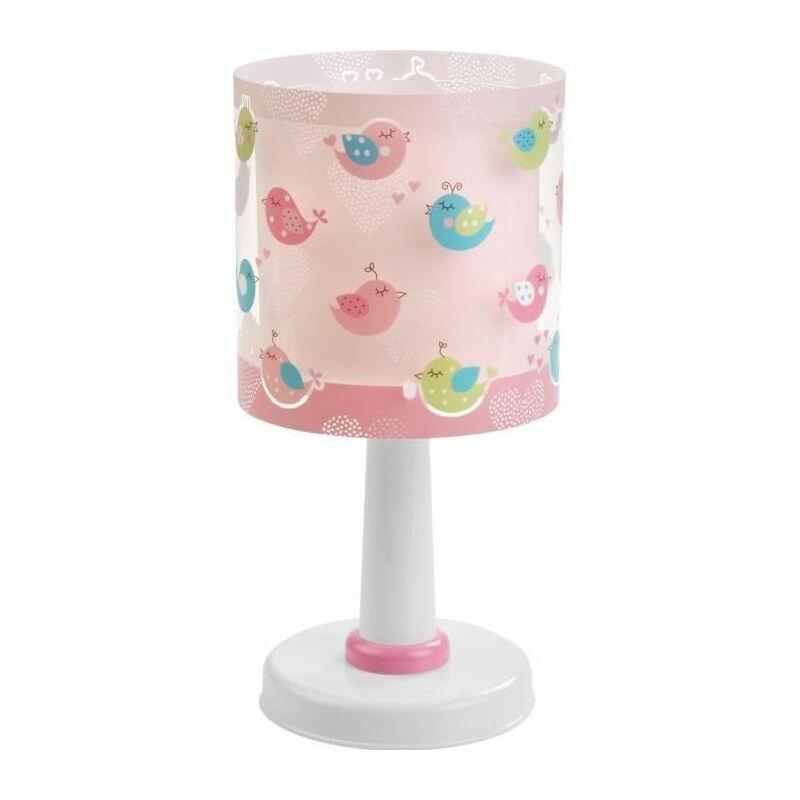 60291 Oiseaux et cœurs Lampe de table, plastique, rose, 15 x 15 x 30 CM - Dalber
