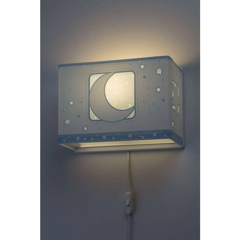 63238T Wall Lamp Moon Light Blue, Plastique, 60 W, Bleu - Dalber