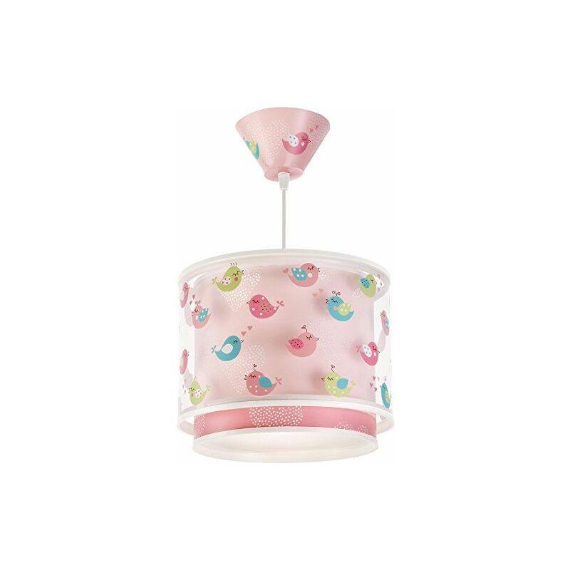 60292 Lampe à suspendre, motif oiseaux et petits cœurs, en plastique, rose, 26,5 x 26,5 x 21 cm - Dalber