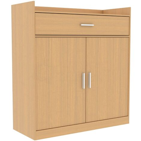 Dalby 2 Door 1 Drawer Shoe Cabinet, Oak