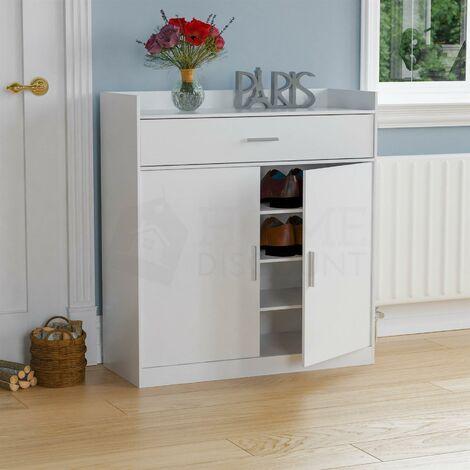 "main image of ""Dalby 2 Door 1 Drawer Shoe Cabinet, White"""
