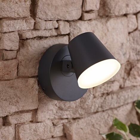 Dalen Integrated LED Swivel Grey Outdoor Wall Light Garden Patio Door 12.5W A++
