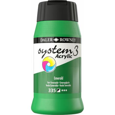 Daler Rowney System 3 Acrylic Colour Emerald Paint (500ml)