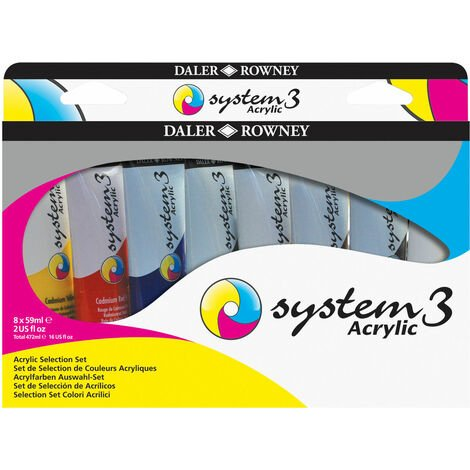 Daler Rowney System 3 Acrylic Paint Assorted Set (8 x 59ml Tubes)