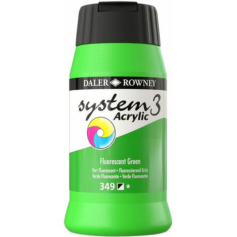 Daler Rowney System 3 Acrylic Paint Fluorescent Green (500ml)