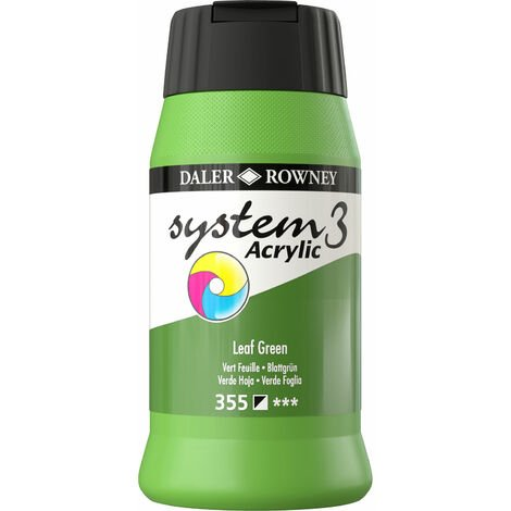 Daler Rowney System 3 Acrylic Paint Leaf Green (500ml)