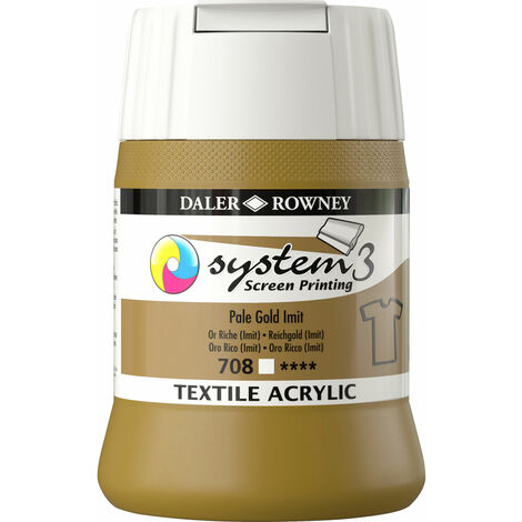 Daler-Rowney System3 250ml Textile Screen Printing Acrylic Paint Pal Gold Im
