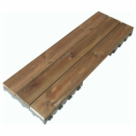 Dalle bois clipsable pin XTiles 117 x 39 cm (Lot de 20 dalles soit 9 m²) - Brun - Brun