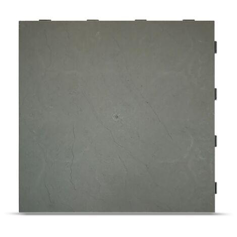 """main image of """"Dalle clipsable autoportante finition ardoise (lot de 15) - Gris vert 39 x 39 cm"""""""
