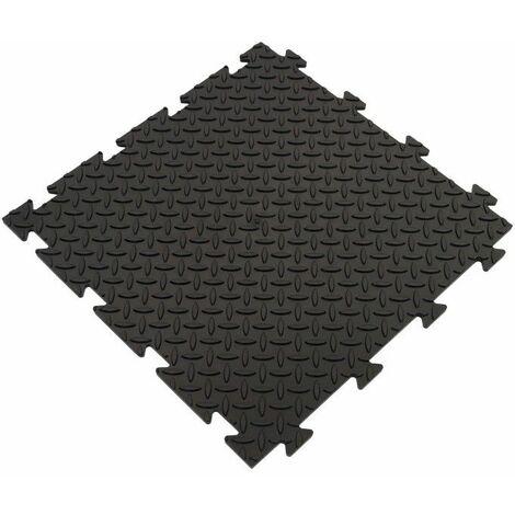 Dalle clipsable en PVC (imitation métal) - Noir 50 x 50 cm