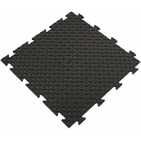 Dalle clipsable en PVC (imitation métal) - Noir 50 x 50 cm - Noir