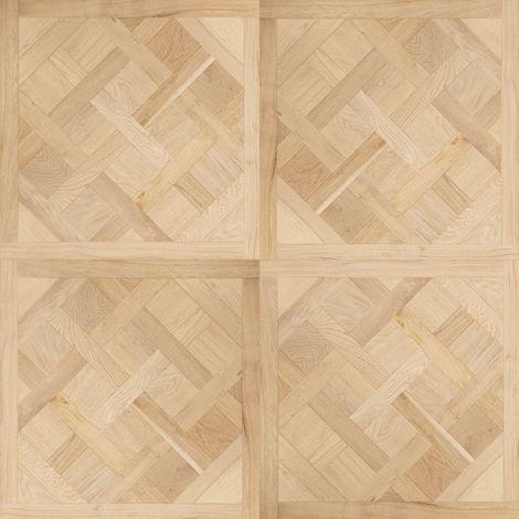 Dalle de parquet Versailles -Chêne -Vernis mat -Aspect bois brut - 80x80 cm | 0.64 mètre carré