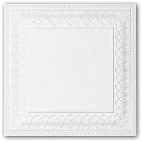 Dalle de plafond 157003 Profhome Élement pour plafond Dalle pour mur et plafond style Néo-Classicisme blanc
