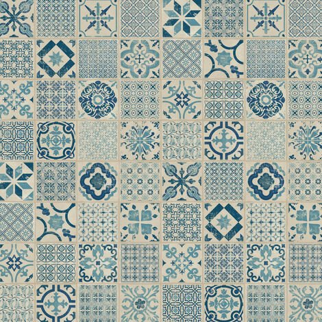 Dalle de sol PVC clipsables pour professionnels - boite de 9 dalles sol vinyle imitation carreau de ciment - 1,68m² - ID Essentiel Click 30- retro indigo bleu - TARKETT