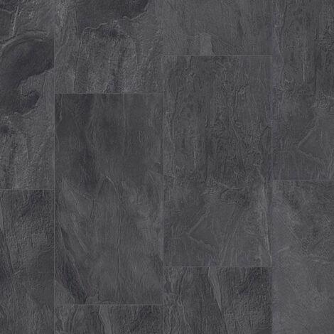 Dalle de sol stratifié compatible cuisine salle de bain - Pierre Gris Manganèse - Paquet de 1,454m²