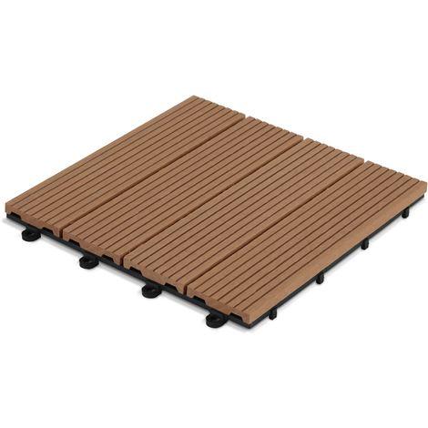 Dalle de terrasse clipsable en bois composite Norman - Marron