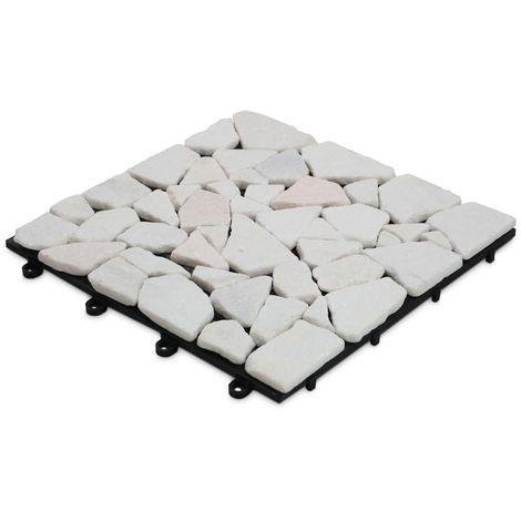 Dalle de terrasse clipsable en galets de marbre blanc Dalle clipsable - Blanc