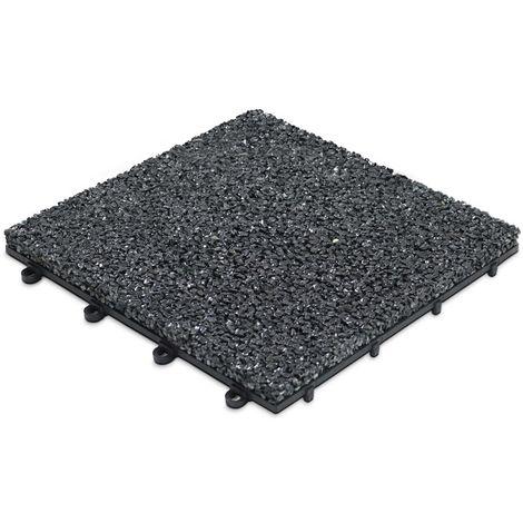 Dalle de terrasse clipsable en gravillon noir Dalle clipsable - Noir