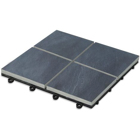 Dalle de terrasse clipsable en pierre noire 4 carreaux Dalle clipsable - Gris