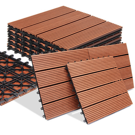 dalle de terrasse en bois composite wpc classique terre cuite 30x30