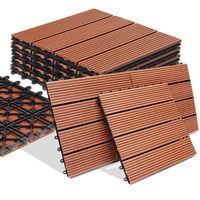 Dalle de terrasse en bois composite WPC Classique Terre cuite 30x30 cm Jardin