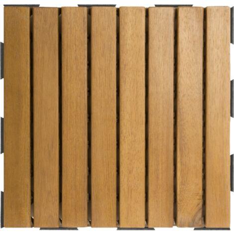 Dalle en bois acacia huilé (lot de 4) - Chêne moyen 30 x 30 cm - Chêne moyen