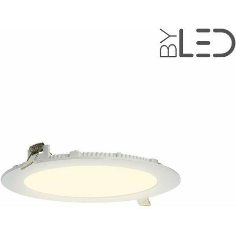 Dalle encastrable LED ronde extra-plate - 12W - IP44 - 230V (sunny-12) | Variation de lumière Non dimmable - Température de couleur Blanc Chaud - Finition Blanc - Puissance (en Watts) 12 W