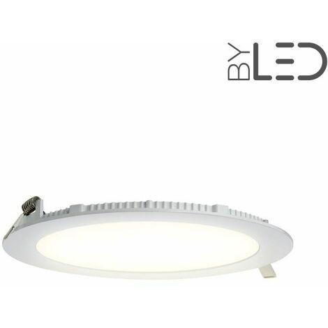 Dalle encastrable LED ronde extra-plate - 15W - IP44 - 230V (sunny-15) | Variation de lumière Dimmable - Température de couleur Blanc Chaud - Puissance (en Watts) 15 W - Finition Blanc