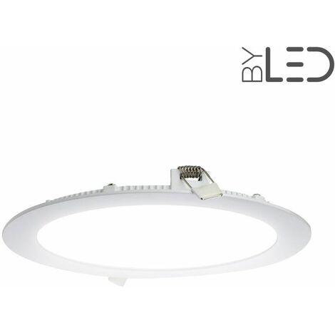 Dalle encastrable LED ronde extra-plate - 18W - IP44 - 230V (sunny-18) | Température de couleur Blanc Pur - Variation de lumière Non dimmable - Finition Blanc - Puissance (en Watts) 18 W