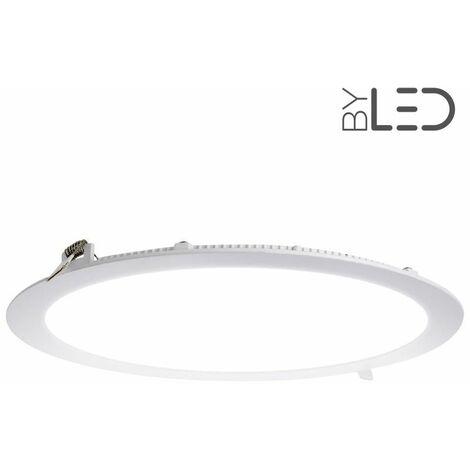 Dalle encastrable LED ronde extra-plate - 24W - IP44 - 230V (sunny-24) | Variation de lumière Dimmable - Température de couleur Blanc Chaud - Finition Blanc - Puissance (en Watts) 24 W