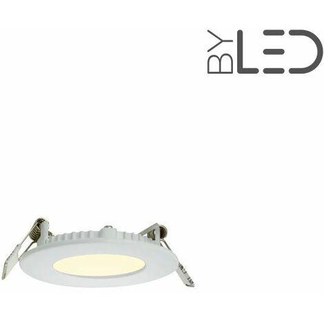 Dalle encastrable LED ronde extra-plate - 3W - IP44 - 230V (sunny-3) | Variation de lumière Non dimmable - Température de couleur Blanc Chaud - Finition Blanc - Puissance (en Watts) 3 W