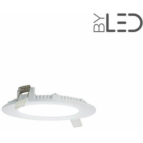 Dalle encastrable LED ronde extra-plate - 6W - IP44 - 230V (sunny-6) | Variation de lumière Non dimmable - Température de couleur Blanc Chaud - Finition Blanc - Puissance (en Watts) 6 W