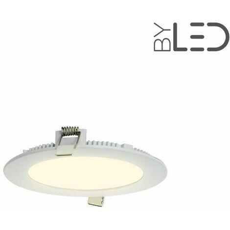 Dalle encastrable LED ronde extra-plate - 9W - IP44 - 230V (sunny-9) | Variation de lumière Dimmable - Température de couleur Blanc Chaud - Finition Blanc - Puissance (en Watts) 9 W