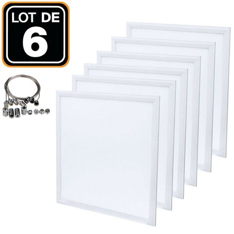 Dalle LED 600x600 40W lot de 6 pcs PMMA blanc neutre 4000k + 6 Kits Câbles de Suspension