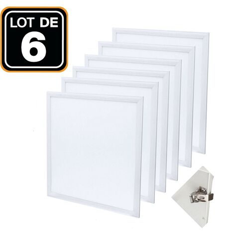 Dalle LED 600x600 40W lot de 6 pcs PMMA blanc neutre 4000k + 6 Kits Clips d'encastrement